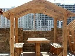 Деревянная беседка для дачи и сада. С мангалом и камином - фото 5