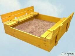 Деревянная детская песочница. Откидные сидения.