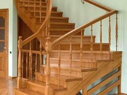 Деревянная лестница на второй этаж №2 Код: ЛД-9 Под заказ