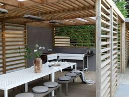 Деревянная пергола с примыканием к дому под ключ - фото 4