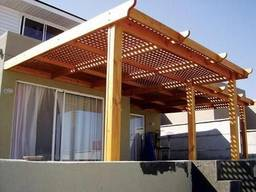 Деревянная пергола с примыканием к дому под ключ - фото 7