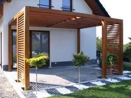 Деревянная пергола с примыканием к дому под ключ - фото 8