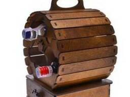 """Деревянная подставка для вина """"Винная бочка"""" с набором рюмок"""