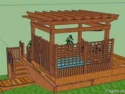 Деревянная терраса с перголой. Строительство под ключ. - фото 4
