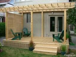 Деревянная терраса с перголой. Строительство под ключ. - фото 8
