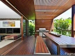 Деревянная терраса с перголой. Строительство.