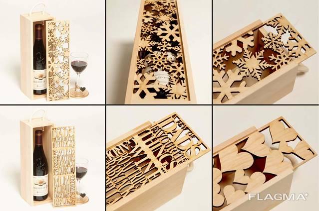 Деревянная упаковка для бутылок и подарков.