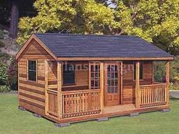 Деревянный летний каркасный дом, дачный домик, садовая комна