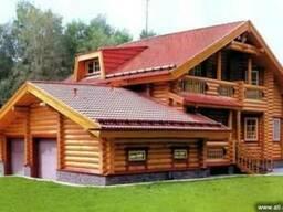 Деревянный дом. Дом из оцилиндрованного бревна.