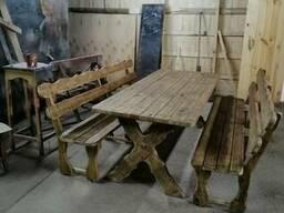 Деревянные беседки, садовые столы, лавки Лозовая