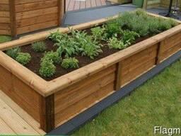 Деревянные клумбы, забор-вазон, деревянная изгородь-решетка