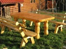 Деревянные столы стулья, скамейки - Дачная мебель, беседки. - фото 6