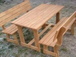 Деревянные столы стулья, скамейки - Дачная мебель, беседки. - фото 8