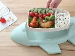 Детская бамбуковая посуда Самолет, двухсекционная тарелка с подставкой BP16 Airplane. ..