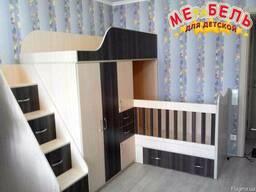Детская двухъярусная кровать-трансформер со шкафом, тумбой,