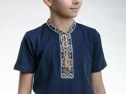 """Детская футболка с вышивкой в украинском стиле «Казацкая"""" (бежевая вышивка) 128"""