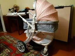 Детская коляска для новорожденных 2 в 1 x-type розовая с серебром