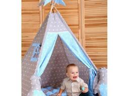 Детская палатка для дома вигвам Голубой и Серый