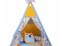 Детская палатка для дома вигвам Желтый, Голубой