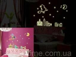 Детские наклейки светящиеся в темноте луна, девочка (044)
