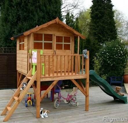 Детский деревянный домик с горкой №1 Под заказ