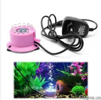Диффузор с подсветкой для аэрации воды в аквариуме, аэратор