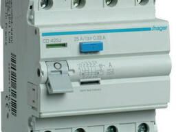 Устройство защитного отключения УЗО Hager CD425J 4x25 A, 30 mA, A, 4м