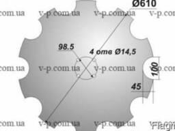 Диск Quivogne 610 мм s-6мм. вырезной-10 зубьев