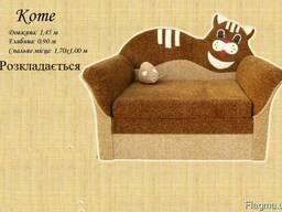 Дитячий диван крісло розкладний з поручнями коте гризли тедд