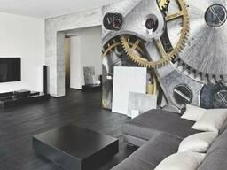 Дизайнерские фотообои Hi Tech Clockwork в интерьере гостиной 185 см х 154 см