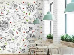 Рельефные объемные фотообои 3Д для пиццерии, ресторана, кафе Пицца Пицерия 250 см х 270 см