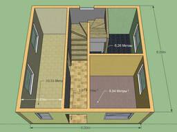 Дом 6 на 6м. 2 этажа. Площадь 72 м.кв. Срок 6 недель.
