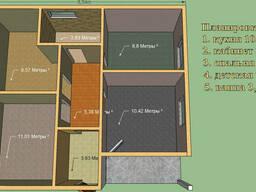 Дом 61 м.кв. Размер 7,5 на 8,5м. Проект Комфи. Варманты план
