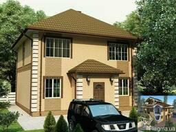Дом 7,3 на 7,3м. 2 этажа. 106м2. Планировку можно изменить.