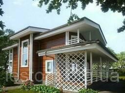 Дом деревянный двухэтажный из профилированного бруса 16х9 м