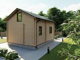 Дом деревянный двухуровневый с мансардой из профилированного