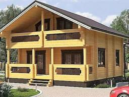 Дом двухэтажный из профилированного клееного бруса 9х8 м