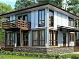 Дом из профилированного клееного бруса, деревянный 9х10 м - фото 1