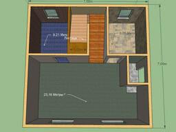 Дом площадь 100 м.кв. с балконом. Размер 7 на 7м, 2 этажа.