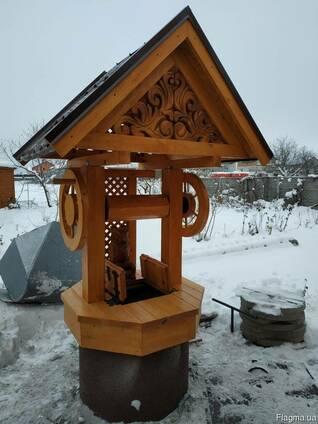 Домик для колодца деревянный с совой