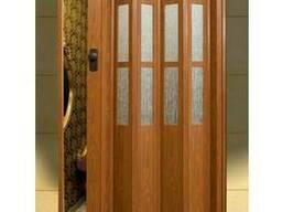 """Двери гармошка с стеклом """"Vinci Decor""""Фруктовое дерево"""