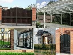 Двери, решетки, ворота, навесы, ангары, гаражи, оградки.
