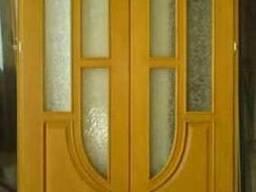 Дверь двупольная, сосна, тонир.лак.