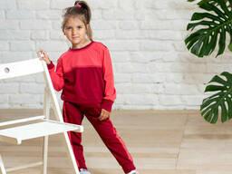 Двухцветный прогулочный трикотажный костюм девочке брюки с кофтой 9-12 лет
