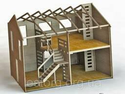 Двухэтажный деревянный дом для небольшого узкого участка 7х4