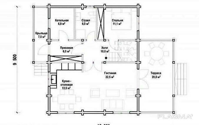 Двухэтажный дом из профилированного клееного бруса 12х10 м