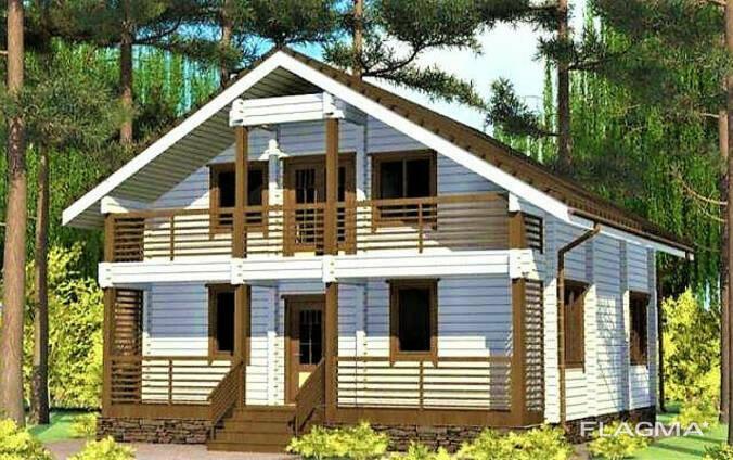 Двухэтажный дом из профилированного клееного бруса 9х10 м