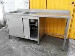 Двухсекционная мойка стол б. у и тумба из нержавеющей стали
