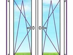 Двухстворчатое окно с двумя поворотно-откидными створками
