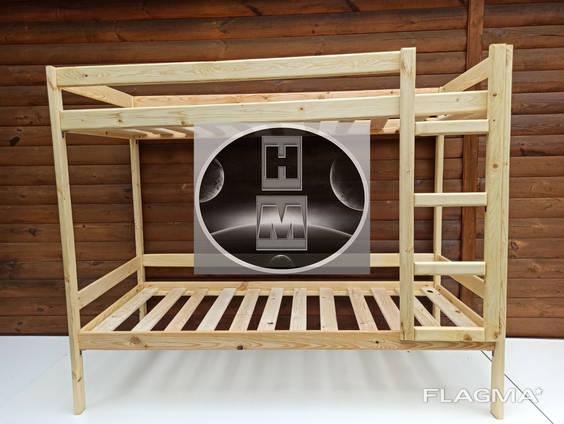 Двухъярусная эко кровать из дерева сосны 190 х 80 Оптом дропшипинг